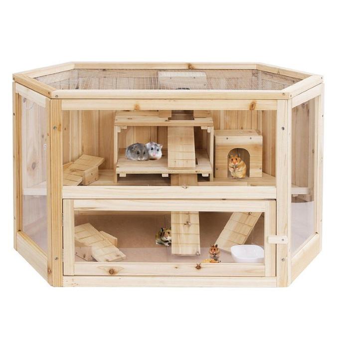 Houten hamsterhuis. Richtprijs: 20 euro, www.alibaba.com