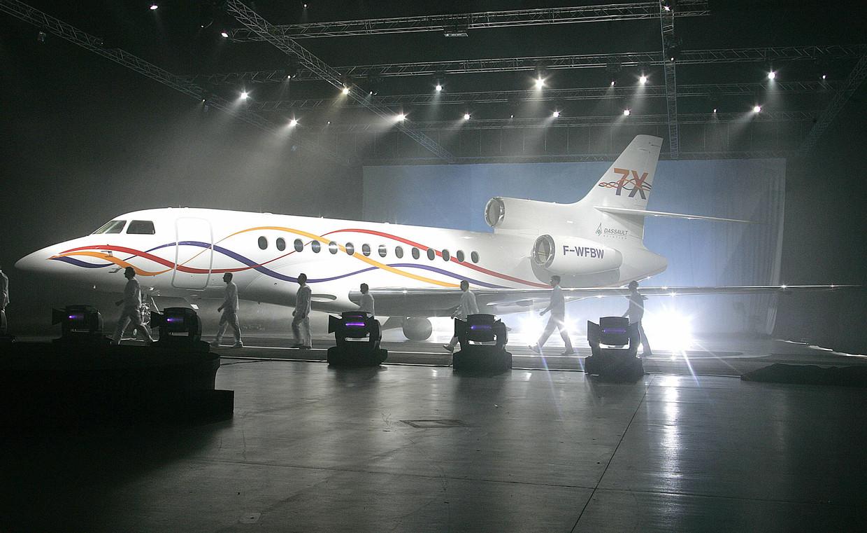 Een Falcon 7X van constructeur Dassault.
