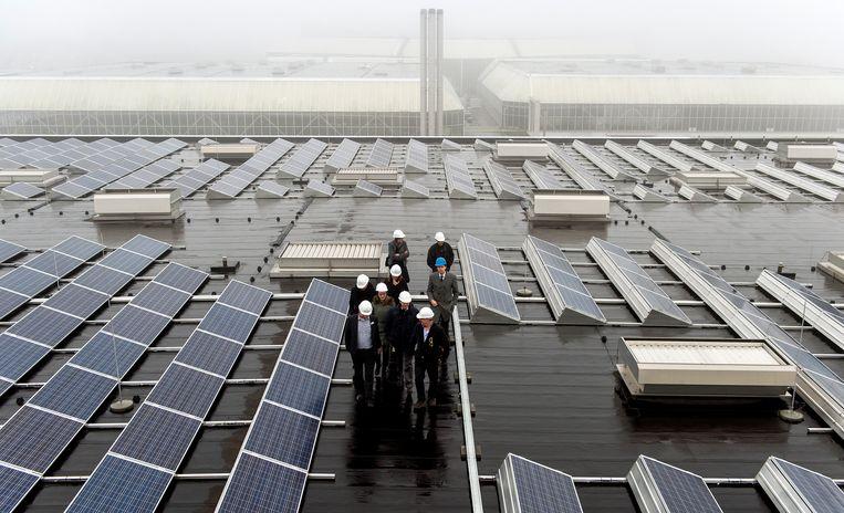 Zonnepanelen op het dak van de Amsterdam RAI.  Beeld ANP