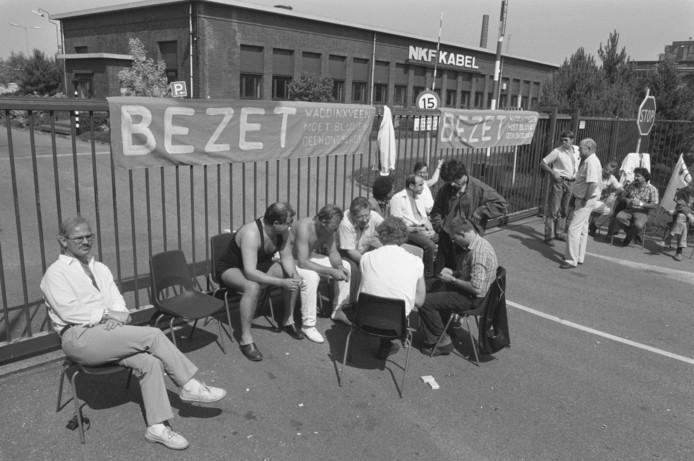 De blokkade van NKF Kabel in juni 1989 in Waddinxveen.
