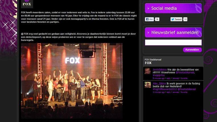 Screenshot van de website van Fox. Beeld