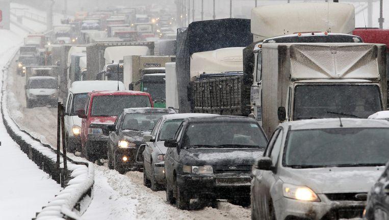 Verkeersdrukte in Rusland. Beeld EPA