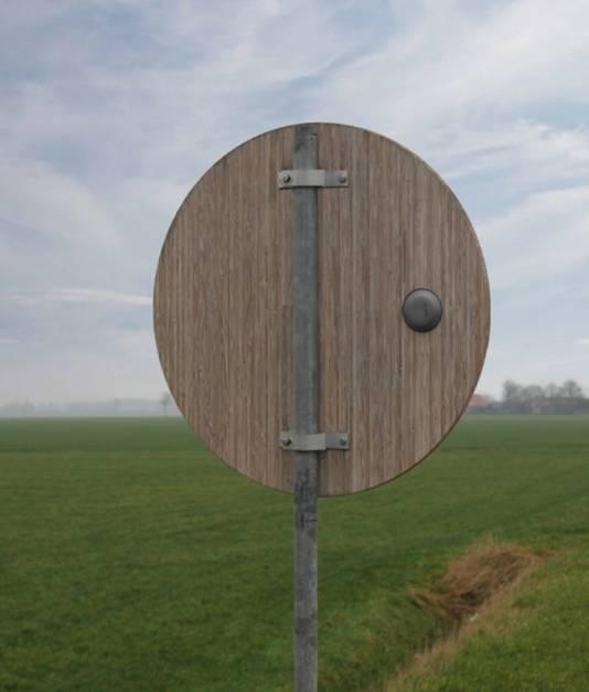 Een bamboeverkeersbord