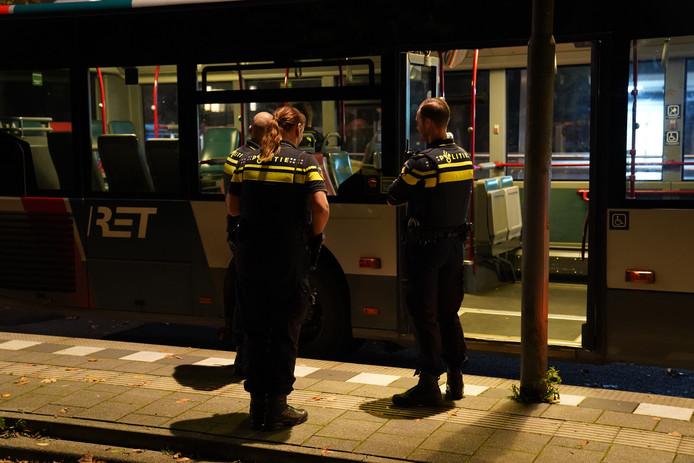 In de bus was een massale vechtpartij.