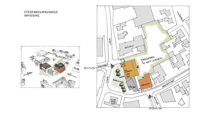 Een bovenaanzicht van het nieuwe plan op de locatie Brouwershoeve.
