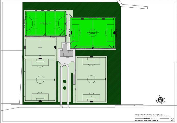Tekening van de optie kunstgrasvelden bij voetbalclub Gloria UC. Linksboven het hockeyveld, daarnaast het kunstgras voetbalveld.