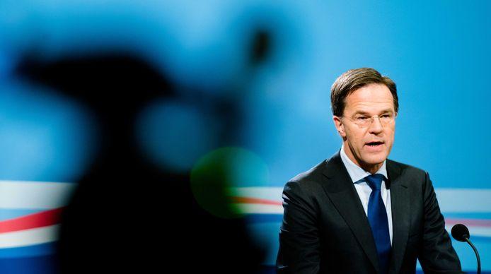 Minister-president Mark Rutte tijdens de persconferentie na de ministerraad.