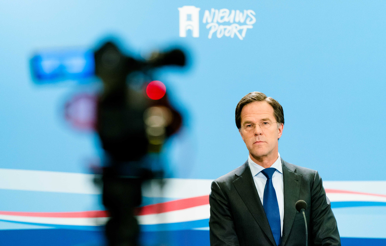 Premier Rutte geeft woensdagavond een persconferentie. Beeld ANP