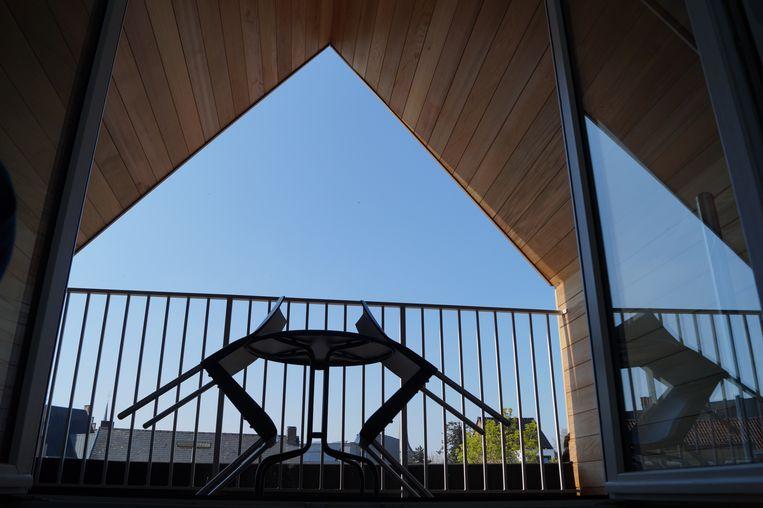 Het terras van het nieuwe dakappartement