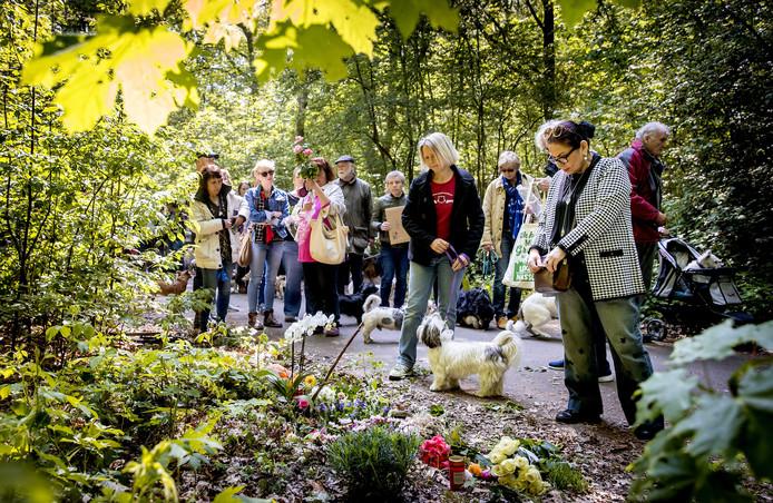 Hondenbezitters lopen mee met de stille tocht ter nagedachtenis aan de vrouw die op 4 mei in de Scheveningse Bosjes met een mes werd gedood tijdens het uitlaten van haar twee honden. Thijs H. is opgepakt op verdenking van het doden van de vrouw en het doodsteken van twee wandelaars op de Brunssummerheide bij Heerlen.