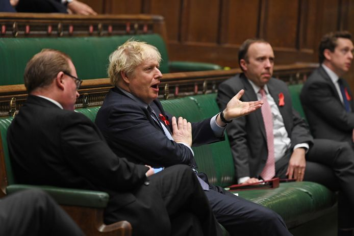 Boris Johnson in het parlement vandaag.