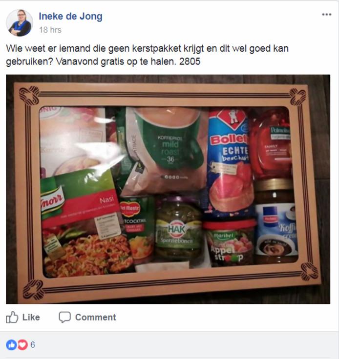 Ineke de Jong doneerde vandaag haar hele kerstpakket.