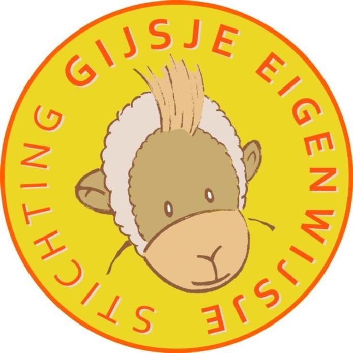 Voor het logo van de stichting 'Gijsje Eigenwijsje' is een 'happy horse' knuffel van Gijs Baeten gebruikt.