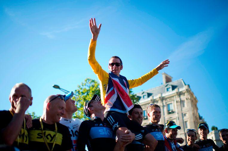 Bradley Wiggins won de Tour van 2012: een nu bekritiseerde zege. Beeld AFP