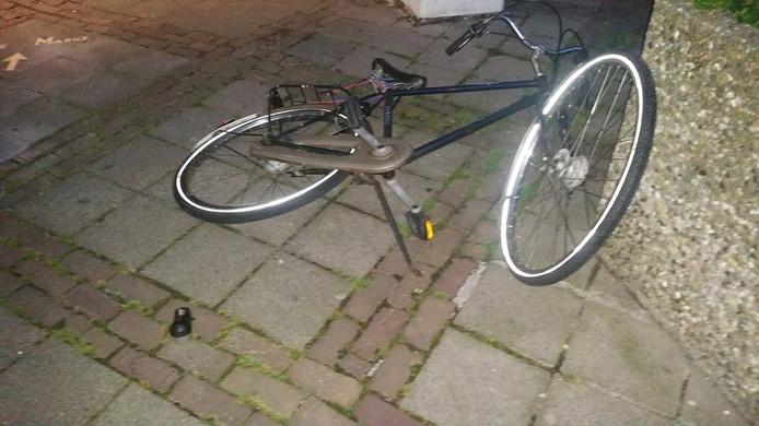 Een van de vernielde fietsen.