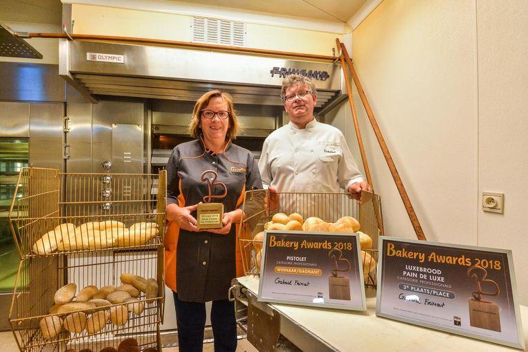 Gabriël Frimout en echtgenote Ilse Maertens met de Bakery Award.