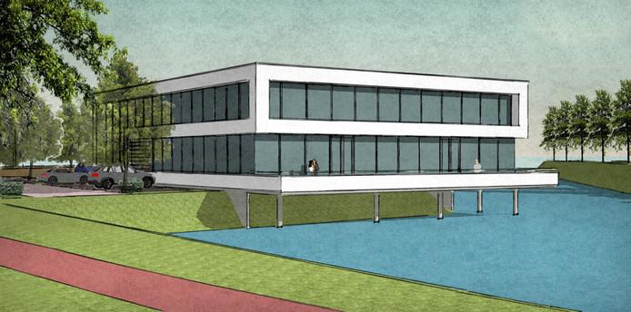 Nieuwe kantoor van bouwbedrijf Aan de Stegge, aan het water aan de Elementweg in Roosendaal