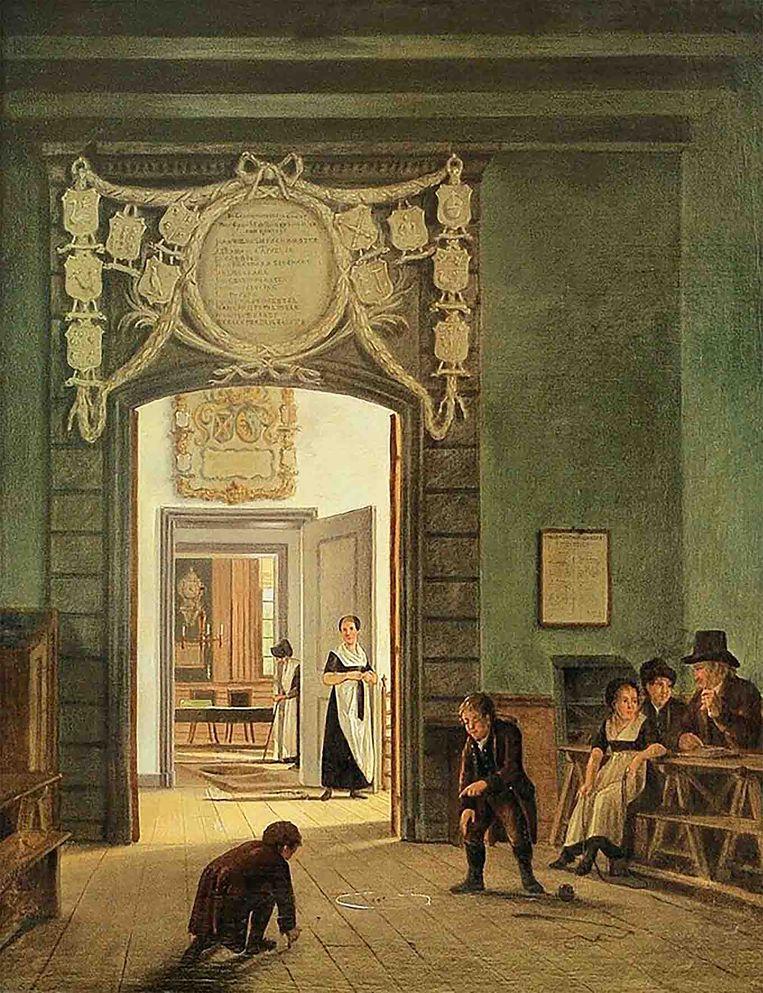 Schilderij door Johannes Jelgerhuis van het  Evangelisch-Luthers Diaconie Oude Mannen- en Vrouwenhuis. Beeld Luther Museum