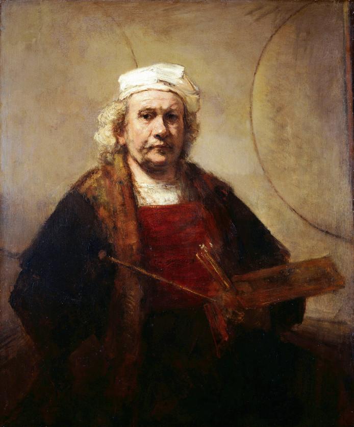 Zelfportret van kunstschilder Rembrandt van Rijn.