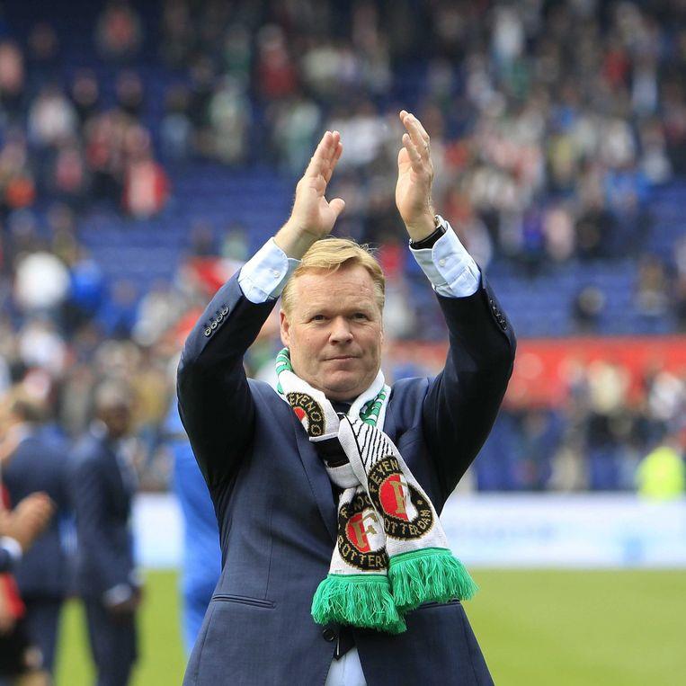 Ronald Koeman tijdens zijn afscheid van Feyenoord in 2014 Beeld epa