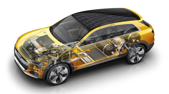Een model van de eerste Audi op waterstof. De bouw van een waterstofauto wordt volgens Audi goedkoper door de samenwerking met Hyundai.