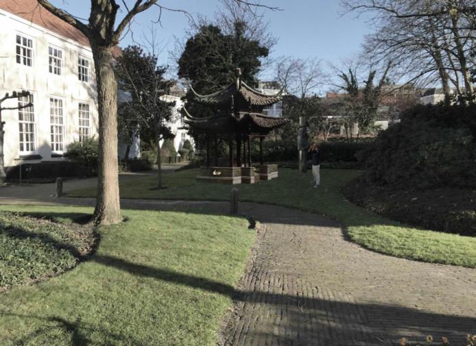 Zo zou het Chinese paviljoen er uit zien, wanneer het in de Willem Merkxtuin wordt geplaatst.