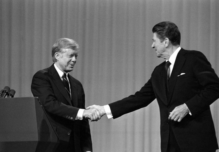 Jimmy Carter en Ronald Reagan.