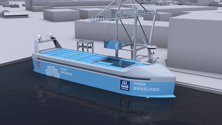 De Yara Birkeland, een volledig autonoom varend en elektrisch aangedreven vrachtschip. Beeld afp