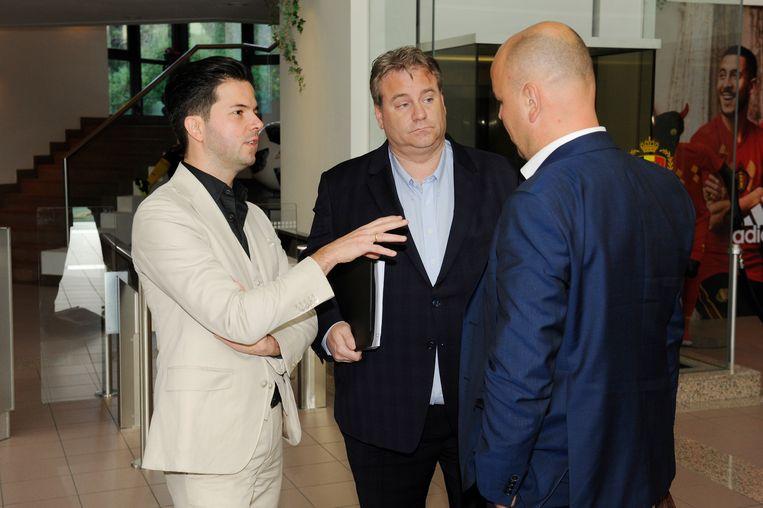 Genk-advocaat Jochem Martens en de Genkse CEO Erik Gerits in het bondsgebouw vandaag.