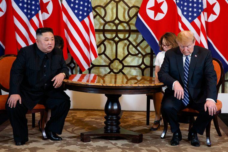 Kim Jong-un en Donald Trump tijdens de top in Hanoi in februari.