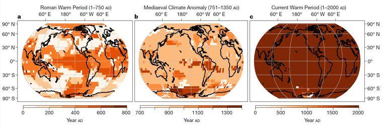 Hoe de Romeinse warmte, de middeleeuwse warmte en de hedendaagse opwarming zich verspreidden. De kleuren geven aan in welke eeuw de warmte in kwestie op zijn hoogtepunt was. Duidelijk te zien is hoe de Romeinse en de middeleeuwse warmtes er eeuwen over deden om zich te verspreiden, terwijl de hedendaagse opwarming overal tegelijk toeslaat.  Beeld Nature
