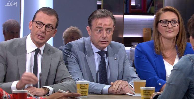 CD&V-voorzitter Wouter Beke, N-VA-voorzitter Bart De Wever en Open Vld-voorzitster Gwendolyn Rutten.