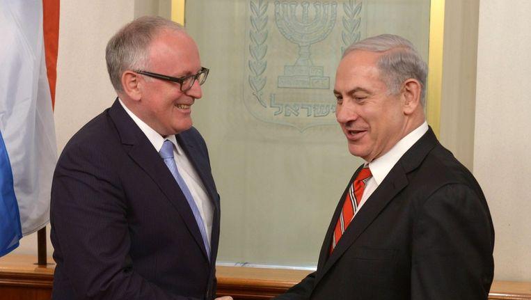 Minister Timmermans (Buitenlandse Zaken) ontmoette maandag de Israelische premier Benjamin Netanyahu. Beeld epa