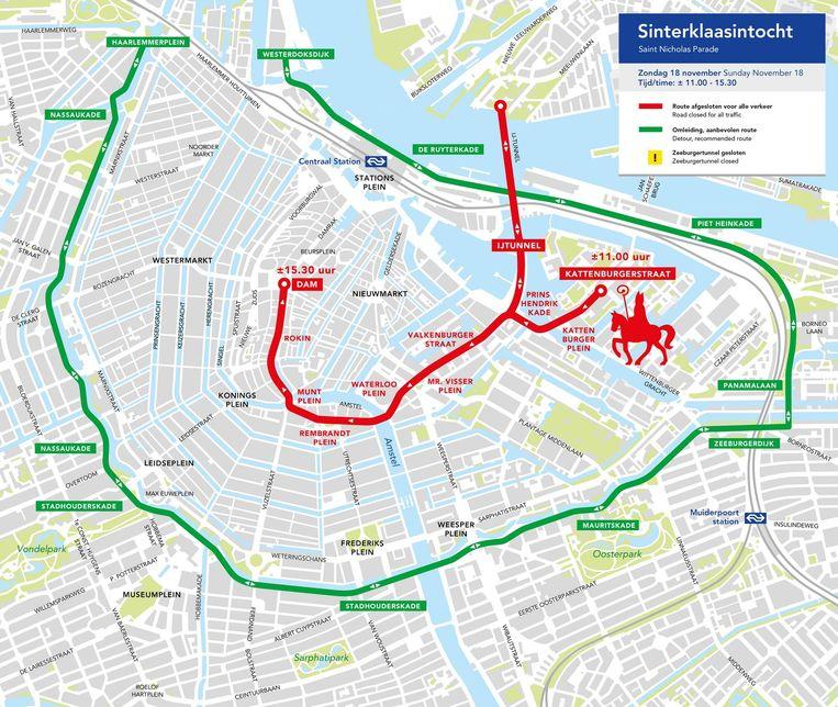 De tocht van Sinterklaas en de alternatieve route door de stad. Beeld Gemeente Amsterdam