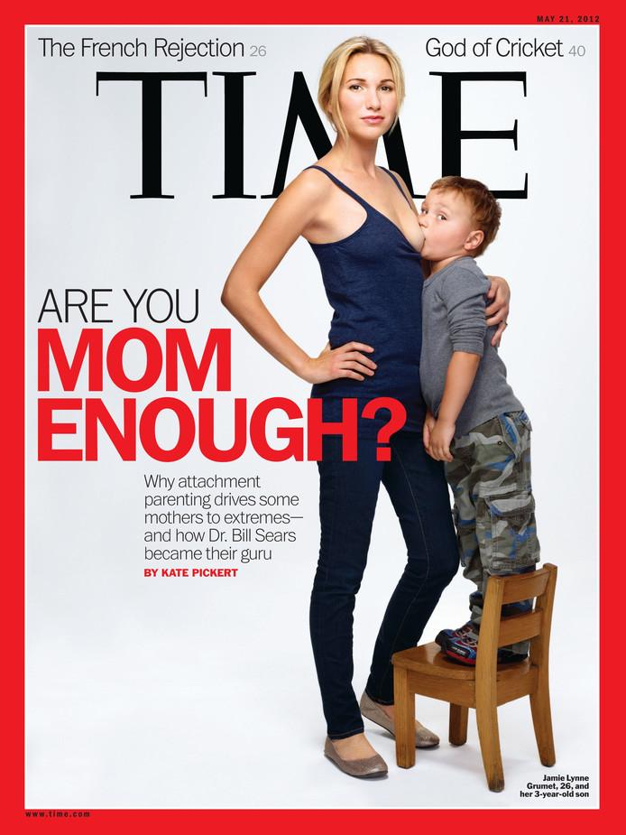 Het Amerikaanse tijdschrift TIME publiceerde in 2012 deze controversiële cover.  TIME wilde een discussie op gang brengen over borstvoeding bij oudere kinderen.