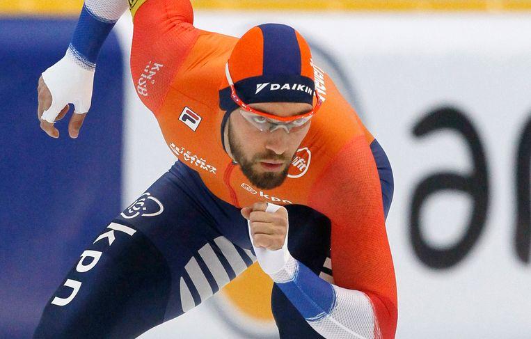 Kjeld Nuis bij de 1500 meter mannen tijdens de wereldbekerwedstrijd in Nur-Sultan, Kazachstan   Beeld AP