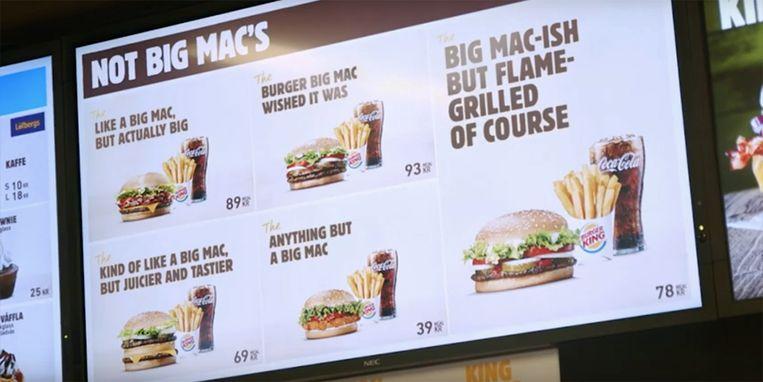 Het menu in een Burger King in Stockholm verwees plots wel heel erg naar de Big Mac van McDonalds.