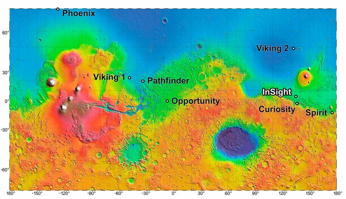 Een overzicht van de diverse landingsplekken van de Mars-missies die NASA ondernam.