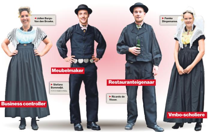 Jolien Burgs-Van den Broeke (28), Stefano Bommeljé  (24), Ricardo Visser (24) en Femke Dingemanse (14) sjezen op donderdag door Middelburg. Doordeweeks hebben ze uiteenlopende beroepen. © Ruben Oreel