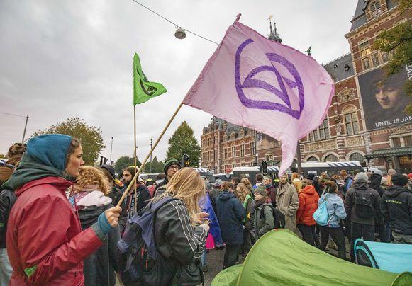 De oproerpolitie trad op in Amsterdam.