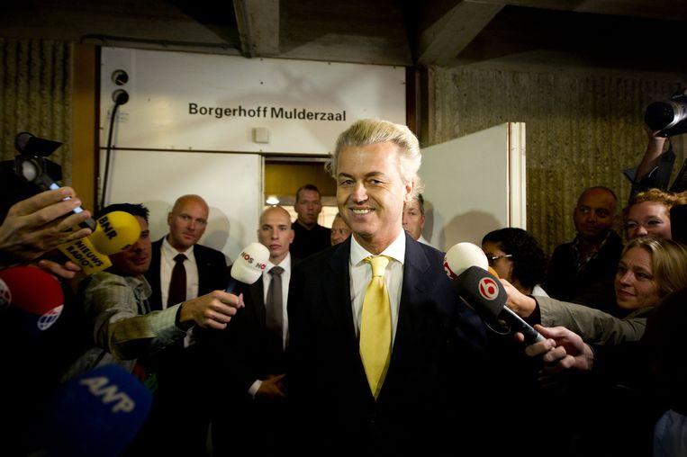 Geert Wilders na zijn vrijspraak op 23 juni 2011 in de rechtbank in Amsterdam. Beeld ANP