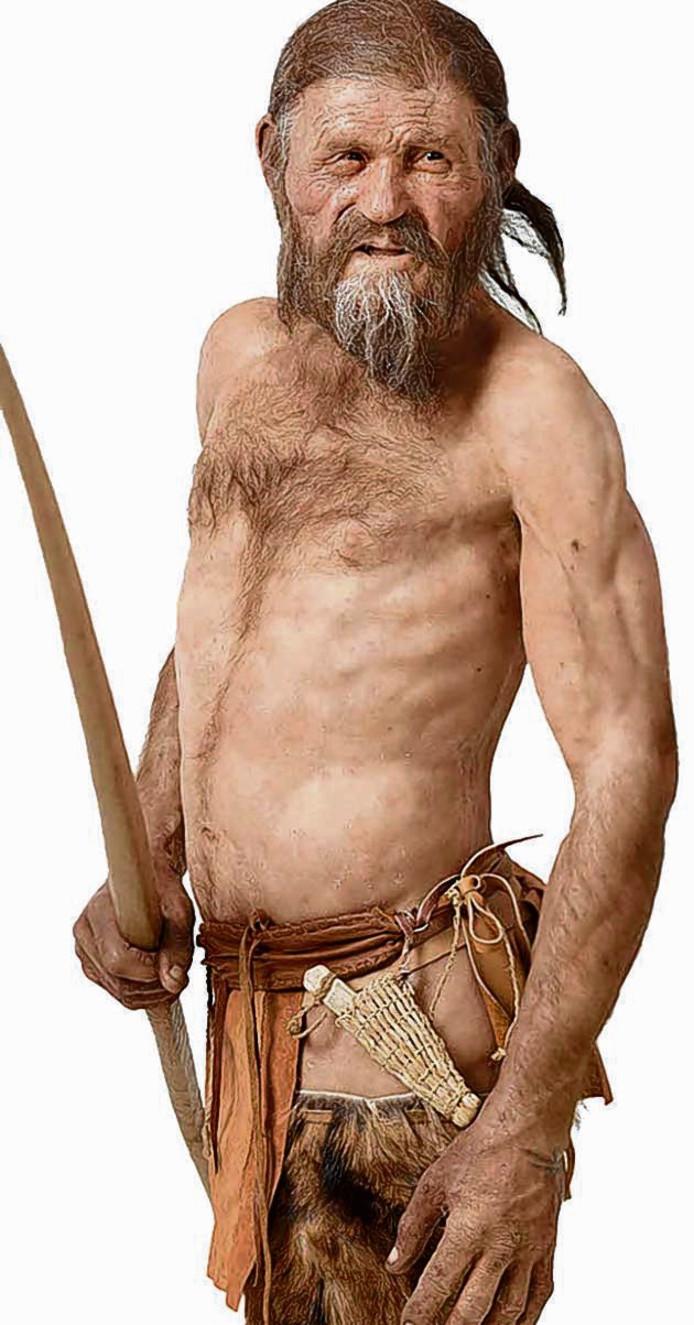 Een gereconstrueerde versie van Ötzi de IJsman.