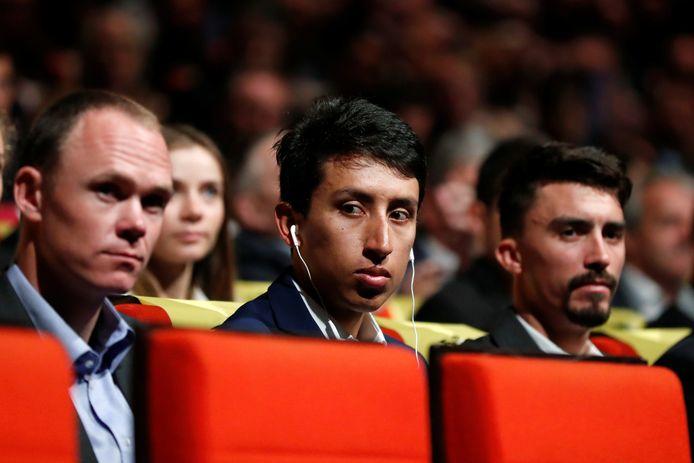 Christopher Froome, Egan Bernal en Julian Alaphilippe bij de presentatie van het Tourparcours van 2020.