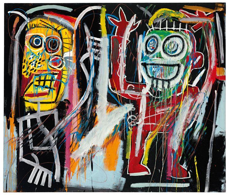 'Dustheads' van Jean-Michel Basquiat, dat voor 35 miljoen dollar werd geveild in 2013. Beeld ap