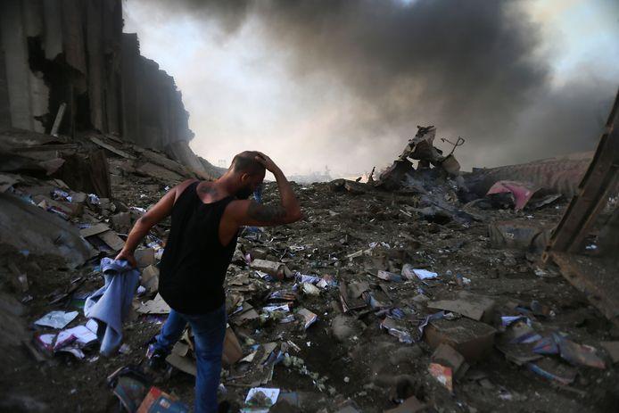 Explosie in Beiroet heeft grote schade aangericht.