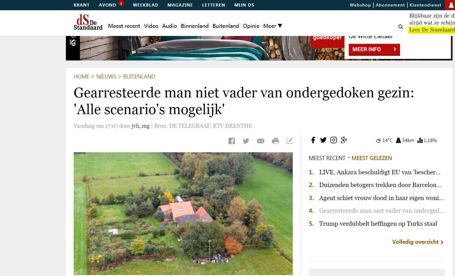 Aandacht bij De Standaard voor het gezin in Drenthe.