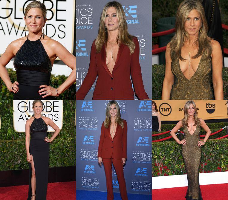 Jennifer Aniston op de Golden Globes, Critics' Choice Awards en de SAG Awards.