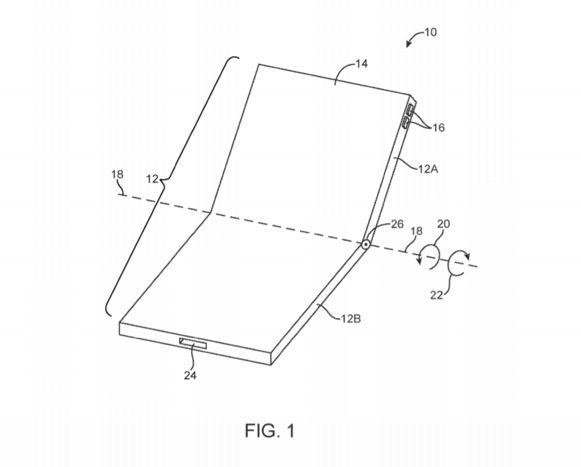 Het patent dat Apple indiende voor wat lijkt op een opvouwbare smartphone.