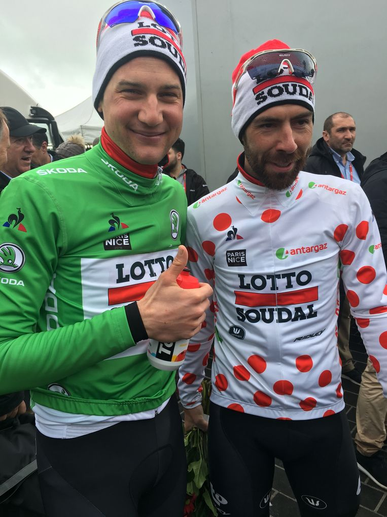 Tim Wellens (puntentrui) en Thomas De Gendt (bollentrui) mochten samen het eindpodium op.
