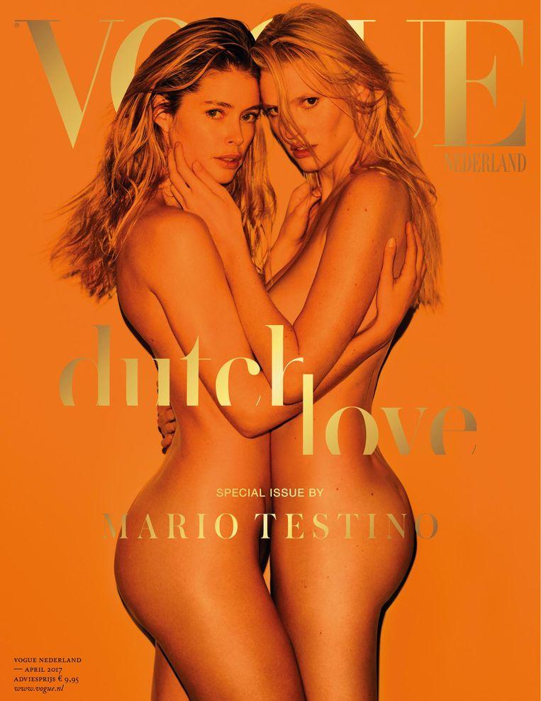 De cover van de Nederlandse Vogue met Doutzen Kroes en Lara Stone. Beeld Mario Testino